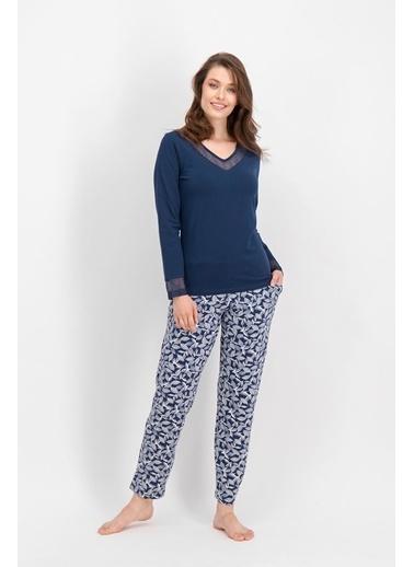 Arnetta Arnetta Basic Lace Leaf Lacivert Kadın Büyük Beden Pijama Takımı Lacivert